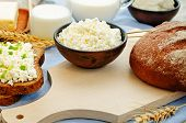 pic of whole-grain  - healthy Breakfast with whole grain rye bread cottage cheese and milk  - JPG