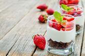 pic of cream cake  - layered dessert with strawberries chocolate biscuit cake and cream cheese - JPG