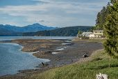 stock photo of olympic mountains  - A view looking north from the south end of Hood Canal in Washington State - JPG