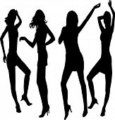 Dancing Girls Silhouettes - Stock  Illustration