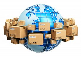 foto of globe  - Blue Earth planet globe surrounded by heap of stacked corrugated cardboard boxes with parcel goods isolated on white background - JPG