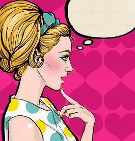 stock photo of valentine card  - Pop Art illustration of blond girl in profile with the speech bubble - JPG