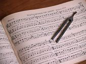 pic of mennonite  - an old antique shaped note song book with a song leader - JPG