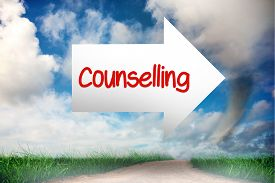 stock photo of counseling  - The word counselling and arrow against road leading out to the horizon - JPG