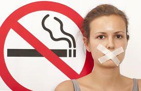 stock photo of smoke  - Woman - JPG