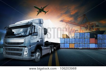 Container Truck ,ship In Port And Freight Cargo Plane In Transport And Import-export Commercial Logi