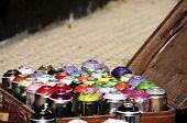 Graffiti spray cans selection
