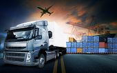 Container Truck ,ship In Port And Freight Cargo Plane In Transport And Import-export Commercial Logi poster