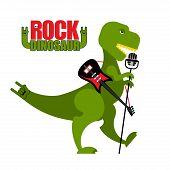 Постер, плакат: Rock Dinosaur Tyrannosaurus Is Singing Into Microphone Dino T rex With An Electric Guitar Green T