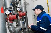 Heating Engineer In Boiler Room