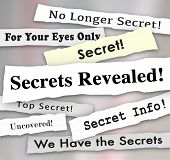 Secrets Revealed words on newspaper headlines to illustrate a confidential or classified announcemen poster