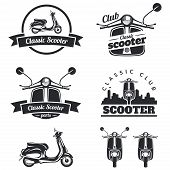 Постер, плакат: Set Of Classic Scooter Emblems Icons And Badges