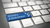 Постер, плакат: Online Research and Development concept with white text Research and Development and an atomic s
