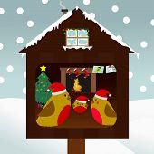 Family Of Birds Celebrating Christmas