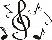 picture of treble clef  - musical notes a treble clef an illustration a vector figure - JPG