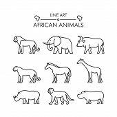 Постер, плакат: Outline Figures Of African Animals
