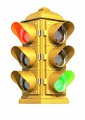 foto of traffic light  - a vintage american traffic light on white background showing red  - JPG