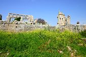 foto of euphrat  - ruins of historic simeonis abbey in syria - JPG