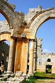 foto of euphrat  - ruins of ancient simeonis abbey in syria - JPG