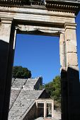 pic of epidavros  - view threw big gate at ancient teatre of epidavros - JPG