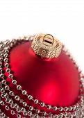 Closeup Of Christmas Ball With Beads
