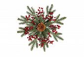 image of christmas wreath  - an isolated wreath in the shape of a snowflake - JPG