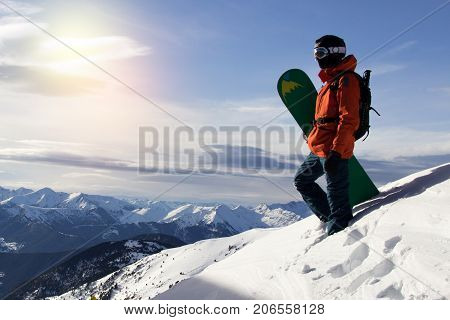 Small snowboarder on
