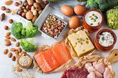 Assortment Of Healthy Protein Source And Body Building Food poster