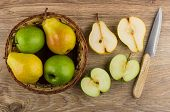 Apples, Pears In Wicker Basket, Cross Section Of Fruits poster
