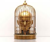 Man with a Cage on His Head, Free Himself, Freedom, Man Trapped, Prisoner in Cage, Employee Theft, M poster