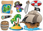 Set of various pirate objects - vector illustration.