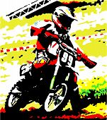 image of dirt-bike  - A dirt bike goes into a corner - JPG