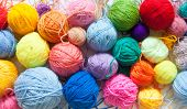 Colored Balls Of Yarn. View From Above. Rainbow Colors. All Colors. Yarn For Knitting. Skeins Of Yar poster
