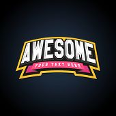 Awesome Text Power Full Typography, T-shirt Graphics, Vectors. Amazing Sport Retro Emblem poster