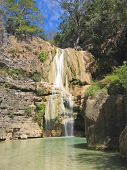 Blue Waterfall In The Jungle, The Tsiribihina River, Madagascar
