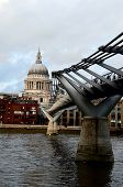 stock photo of convocation  - Across Themes view to London Saint Paul Cathedral and Millennium Bridge - JPG