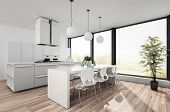 Modern white open plan kitchenette with fitted cabinets and appliances and a contemporary dining tab poster