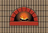 Vector Illustration Of Oven With Burning Fire