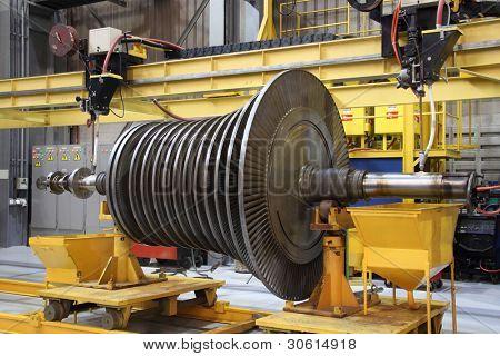Steam turbine being worked on