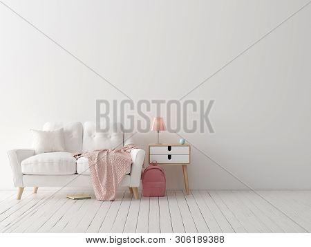 poster of Mock Up Poster, Wall In Children Bedroom Interior Background, Scandinavian Style, 3d Illustration