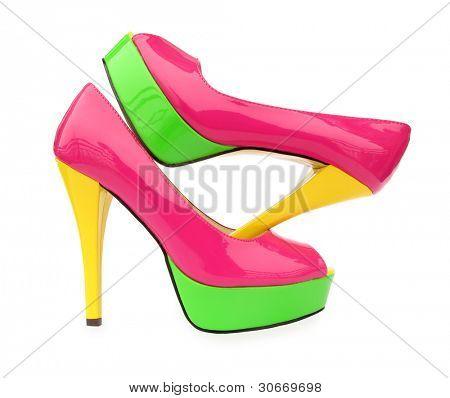 Постер, плакат: Розовый Зеленый желтый высокие каблуки открытых ног насос обувь, холст на подрамнике