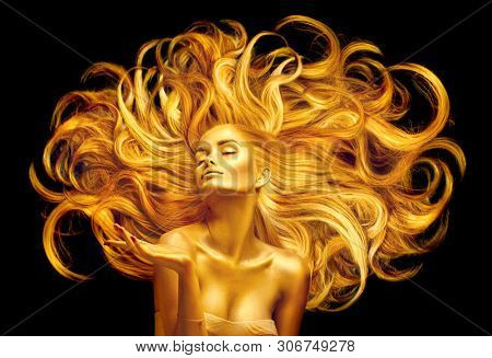 poster of Gold Woman. Beauty fashion model girl with Golden make up, and Long hair pointing hand on black back