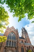 Beautiful View Of The Cathedral Of St. Salvator In Bruges With Bright Green Trees And Sun Rays, Belg poster