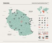 Vector Map Of Tanzania. Country Map With Division, Cities And Capital Dodoma. Political Map,  World  poster