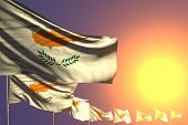 Wonderful Any Holiday Flag 3d Illustration  - Many Cyprus Flags Placed Diagonal On Sunset With Place poster