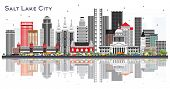 Salt Lake City Utah City Skyline with Gray Buildings Isolated on White. Business Travel and Tourism  poster