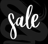 Black Letters: Sale, Hand Sketched Sale Lettering Typography. Hand Drawn Sale Lettering Sign. Badge, poster