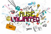 illustration of music unlimited doodle with colorful element
