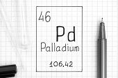 The Periodic Table Of Elements. Handwriting Chemical Element Palladium Pd With Black Pen, Test Tube  poster