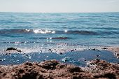 Sea In Clear Weather. Sea On A Sunny Day. Summer . . Small Waves. Sea And Beach. Background Sea And  poster